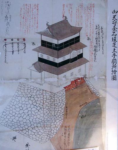 00-御天守台石垣芝土手崩所絵図-1855年(安政2年)