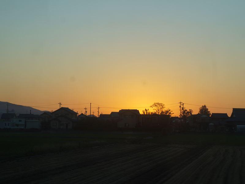 北陸の夕陽