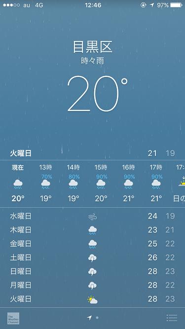 2016年9月20日iPhone天気アプリ