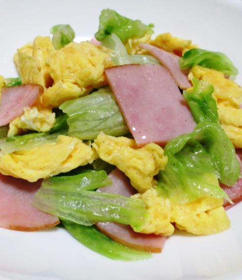 ハムとレタスの卵炒め B