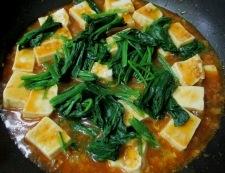 麻婆豆腐ほうれん草 調理⑤