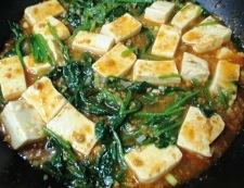 麻婆豆腐ほうれん草 調理⑥