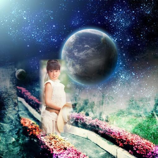 青い地球は宇宙の庭よちょっと散歩気分で