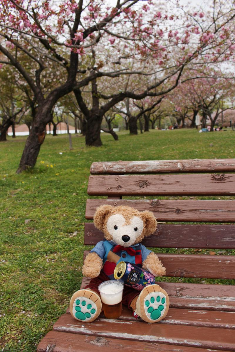 ベンチで金麦を注ぐダッフィー 駿府城公園 160413