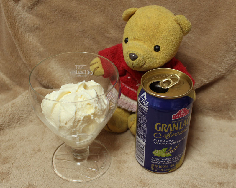グラスのアイスとビール 160505
