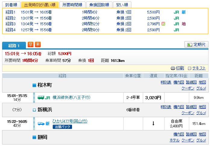 ジョルダン 桜木町→静岡 1630 到着 経路1