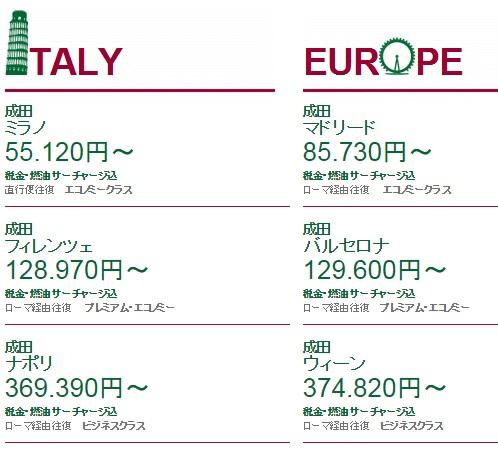 アリタリア航空 成田ミラノ直行便のエコノミークラス往復が5月26日まで55120円