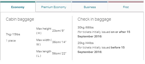 キャセイパシフィック航空 の預け入れ手荷物の重量が増加します。