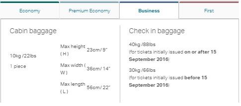 キャセイパシフィック航空 の預け入れ手荷物の重量が増加します。1