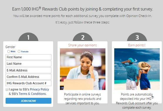IHGリワードクラブは、アンケートにこたえる登録をすると1000ポイントがもらえます。