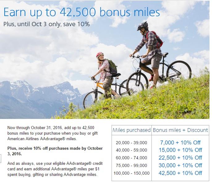 アメリカン航空のAAdvantageでマイル購入&ギフト 10%OFF_ 最大43%ボーナスマイル