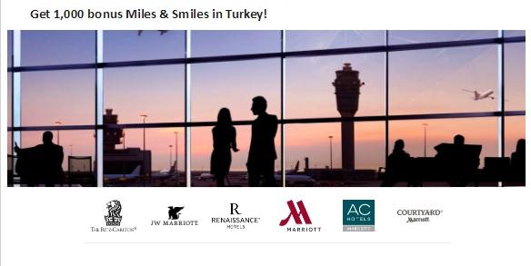 マリオットホテルが滞在毎にトルコ航空 1,000ボーナスマイル