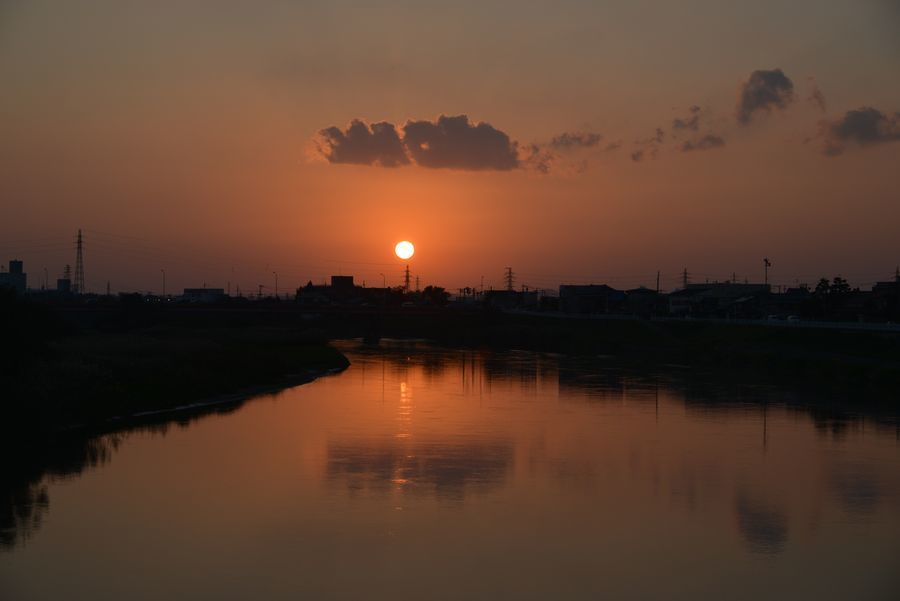 河の夕日-3