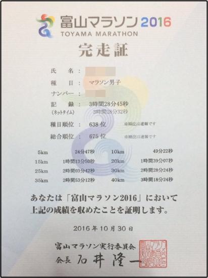 富山マラソン2016結果