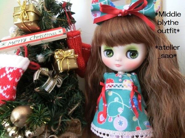 ミディブライス◆クリスマス☆ワンピ☆緑1
