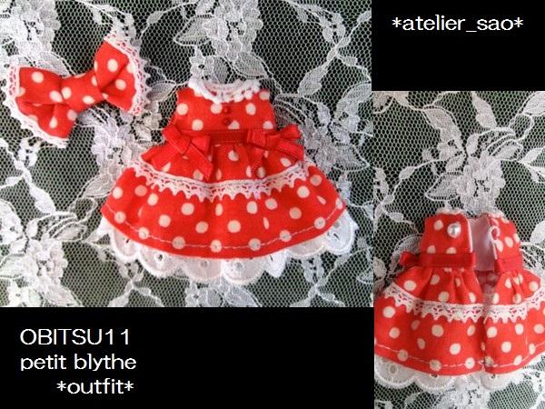 ◆プチブライス◆オビツ11◇赤水玉ドレス3