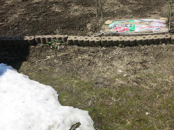 家庭菜園 雪が残る