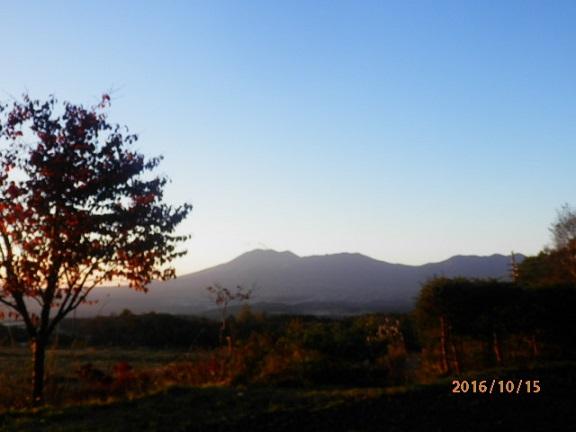 朝方の浅間山、庭先より。