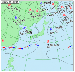 6月7日(火)15時の実況天気図