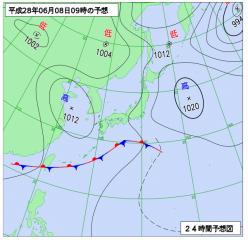 6月8日(水)9時の予想天気図
