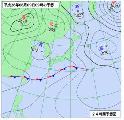 6月9日(木)9時の予想天気図