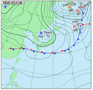10月27日(木)15時の実況天気図