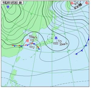10月28日(金)6時の実況天気図