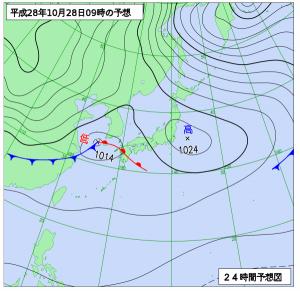 10月28日(金)9時の予想天気図