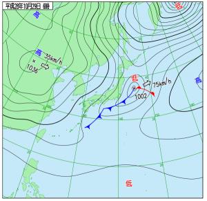 10月29日(土)6時の実況天気図
