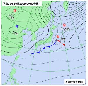 10月29日(土)9時の予想天気図