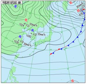 10月30日(日)6時の実況天気図