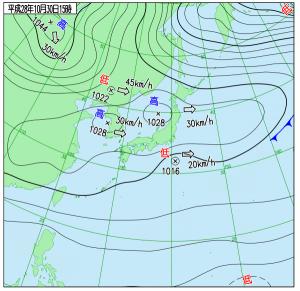 10月30日(日)15時の実況天気図