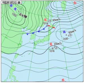 10月31日(月)6時の実況天気図