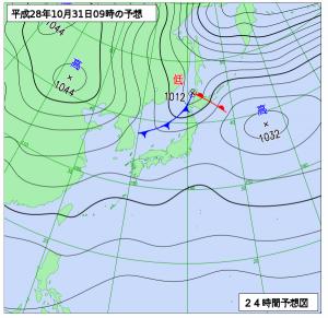 10月31日(月)9時の予想天気図