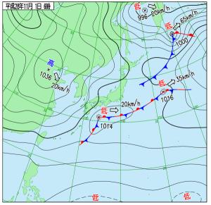 11月1日(火)6時の実況天気図