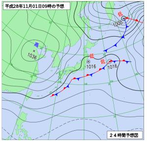 11月1日(火)9時の予想天気図