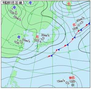 11月2日(水)6時の実況天気図