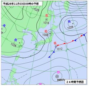 11月3日(木祝)9時の予想天気図