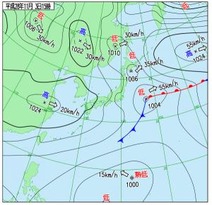 11月3日(木祝)15時の実況天気図