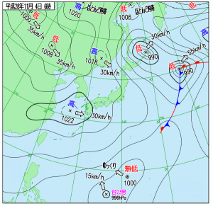 11月4日(金)6時の実況天気図
