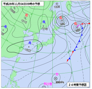 11月4日(金)9時の予想天気図