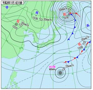 11月6日(日)15時の実況天気図