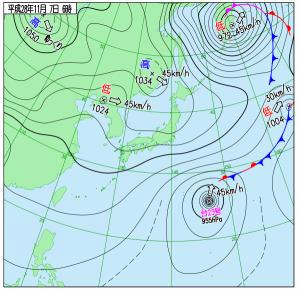11月7日(月)6時の実況天気図