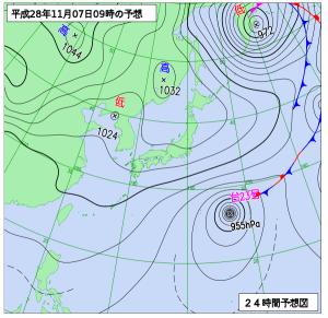 11月7日(月)9時の予想天気図