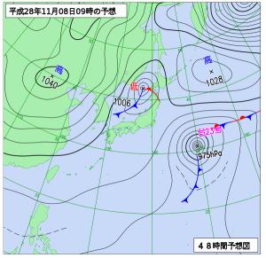 11月8日(火)9時の予想天気図