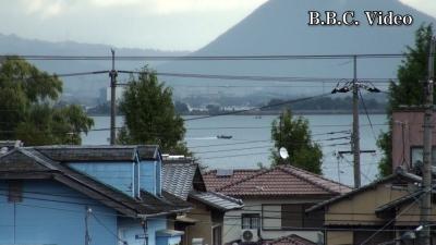 窓から見た琵琶湖(10月29日8時頃)