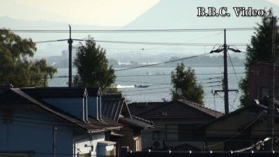 窓から見た琵琶湖(10月30日8時頃)