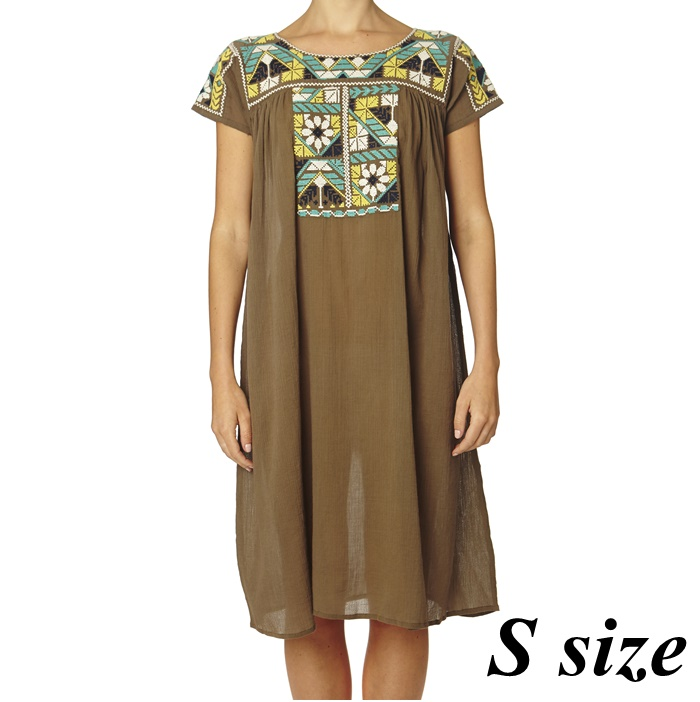 Selma Emb Dress khaki1