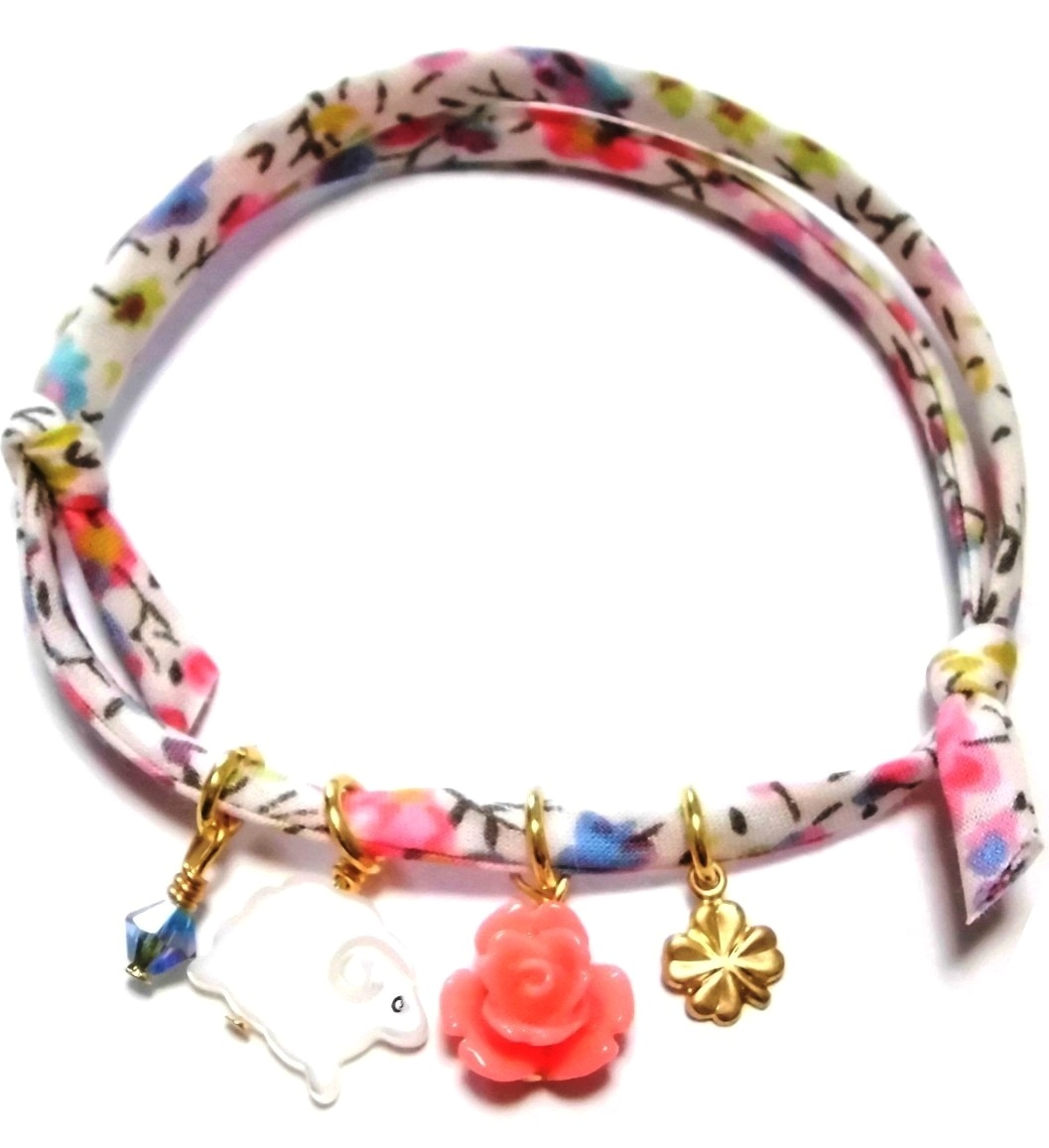 sheep and flower Liberty print bracelet (2)