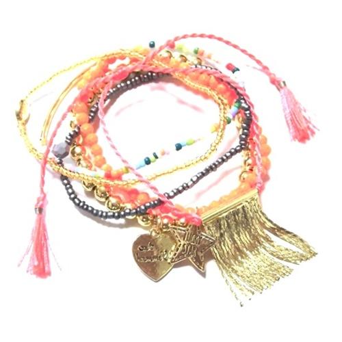 w314 st tropez chain tassel braselet set gold (1)